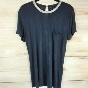 J.crew Metallic Trim Linen T-shirt Size M